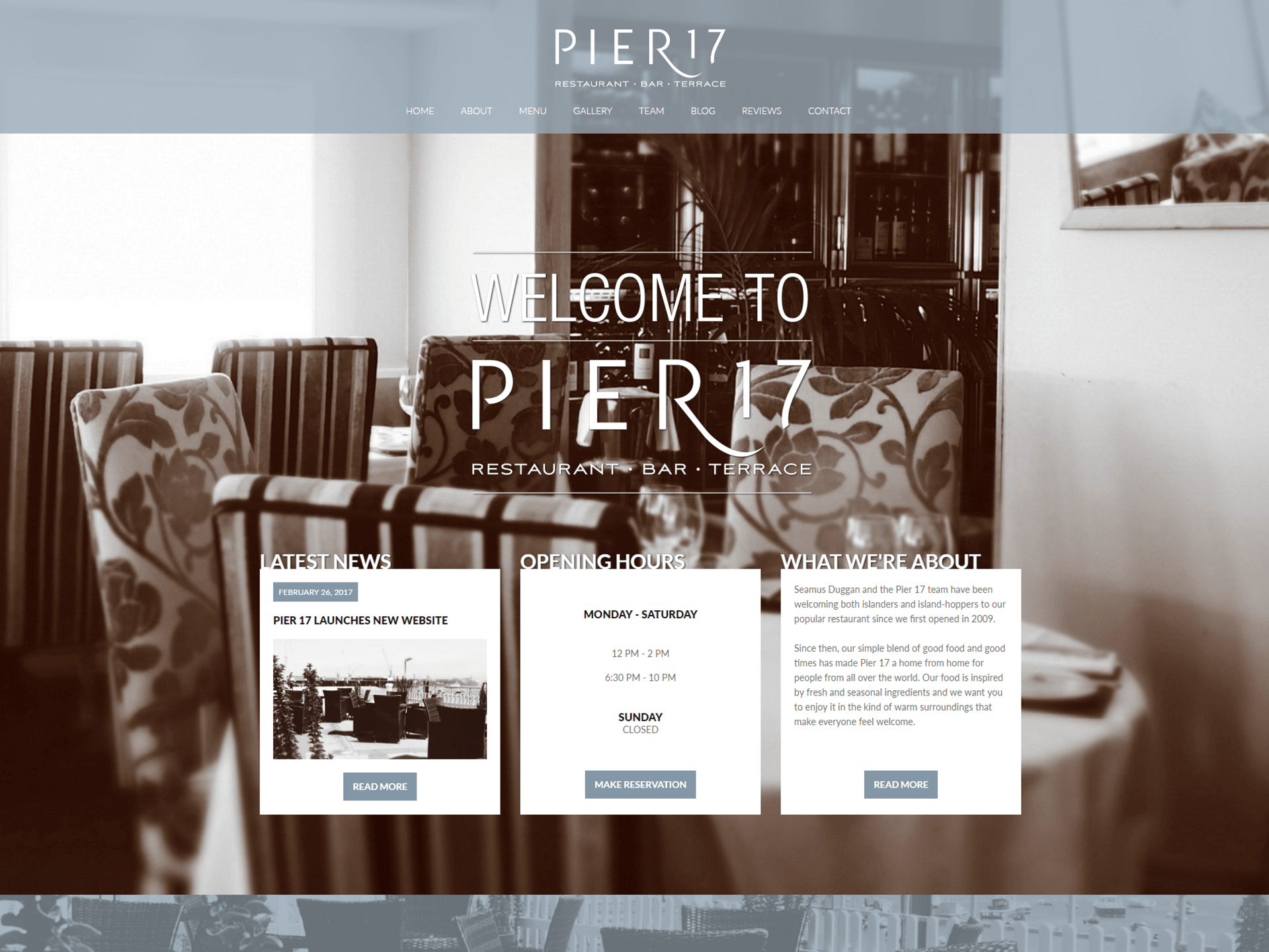 Pier 17 Restaurant - Guernsey - Website Design & Development - Home